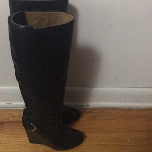 Coach wedge knee high boots